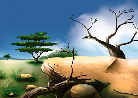 African bush - Highly detailed cartoon background 01