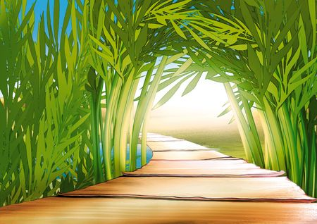 footbridge: Bamboo grove - Highly detailed cartoon background 03 Stock Photo