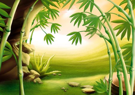 highly: Bamboo - Highly detailed cartoon background 04