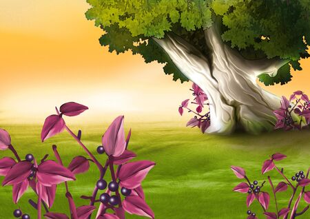 highly: Berry-producing plant - Highly detailed cartoon background 06 Stock Photo