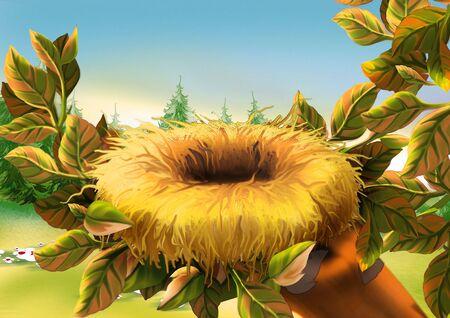 nest: Birds nest - Highly detailed cartoon background 07