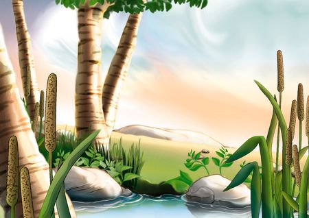 rushes: Birch & small lake - Highly detailed cartoon background 08