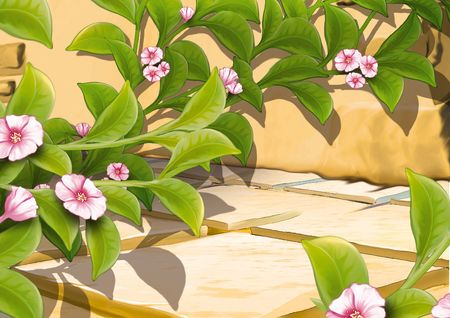 creeping plant: Creeping plant with flowers - Highly detailed cartoon background 09