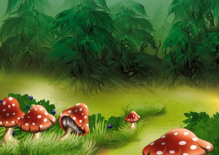 a fly agaric: Fly agarics - Highly detailed cartoon background 17 Stock Photo