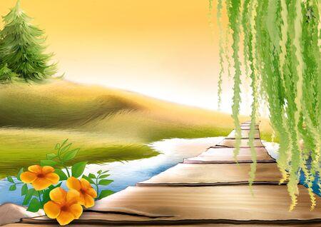 vlonder: Loopbrug & weide stream - Zeer gedetailleerde cartoon achtergrond 18