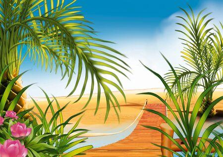 vlonder: Loopbrug op het strand - zeer gedetailleerde cartoon achtergrond 19 Stockfoto