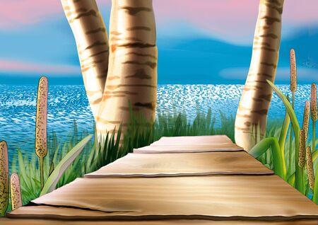 vlonder: Loopbrug - zeer gedetailleerde cartoon achtergrond 20