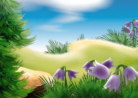 coniferous forest: Forest glade - altamente detallados dibujos animados fondo 22