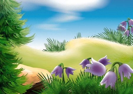 coniferous tree: Forest glade - Highly detailed cartoon background 22 Stock Photo