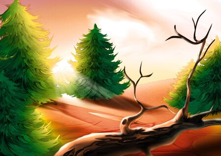 conifer: Forest green - Highly detailed cartoon background 23 Stock Photo