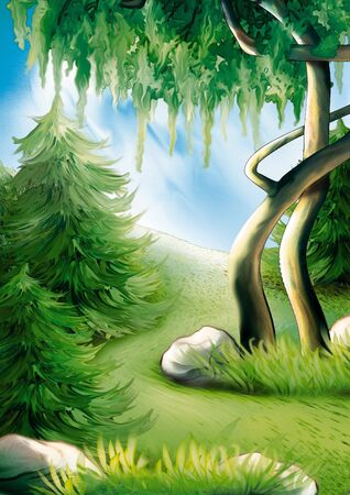 clearing: Forest hillside - Highly detailed cartoon background 24 Stock Photo