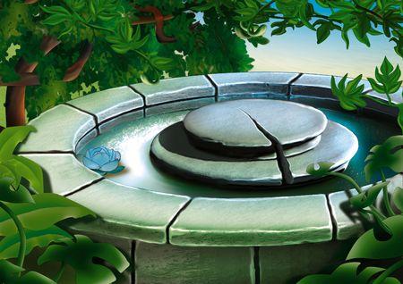 garden fountain: Stone Fountain - Highly detailed cartoon background 25