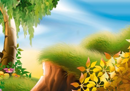 highly: Hillside & tree - Highly detailed cartoon background 28