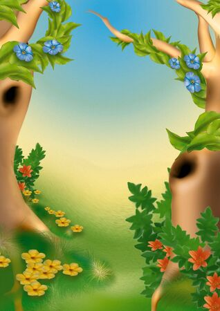 highly: Chinese forest - Highly detailed cartoon background 29 Stock Photo