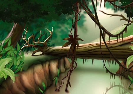 arboles de caricatura: Selva - altamente detallados dibujos animados fondo 31  Foto de archivo