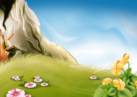 Meadow & rock - Highly detailed cartoon background 33