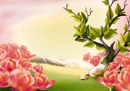 highly: Meadow and blooms - Highly detailed cartoon background 34 Stock Photo