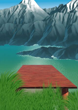 footbridge: Mountain lake - Highly detailed cartoon background 35 Stock Photo