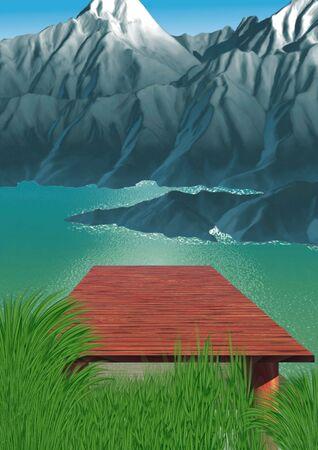 Mountain lake - Highly detailed cartoon background 35 Banco de Imagens