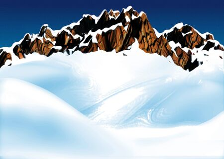 snowcovered: Mountain ridge - Highly detailed cartoon background 37