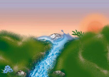 mountain stream: Mountain stream - Highly detailed cartoon background 38
