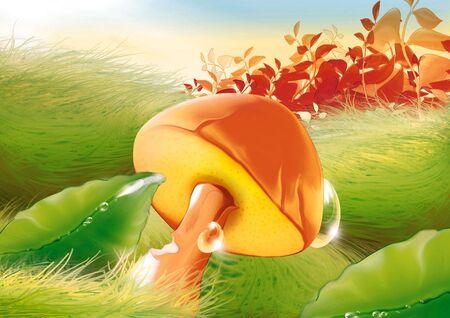 Mushroom & water drops - Highly detailed cartoon background 39 photo