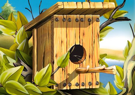 nesting: Nesting box for birds - Highly detailed cartoon background 40