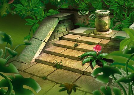 Old steps in jungle - Highly detailed cartoon background 43 photo
