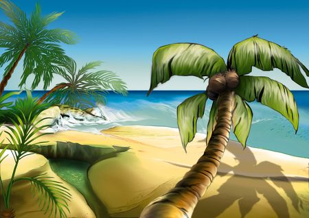 Palm beach - Highly detailed cartoon background 44