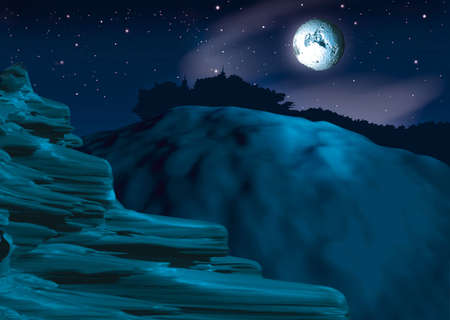 nightly: Pitch-dark - Highly detailed cartoon background 46 Stock Photo