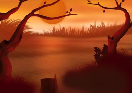 undergrowth: Red sunset - Highly detailed cartoon background 49