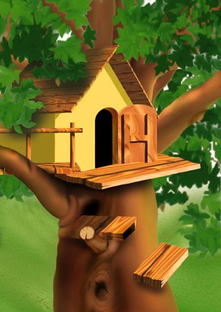wooden stairs: Small house on the tree top - Highly detailed cartoon background 51