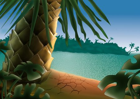 Small island - Highly detailed cartoon background 52 photo
