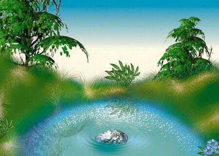 highly: Small pond - Highly detailed cartoon background 54