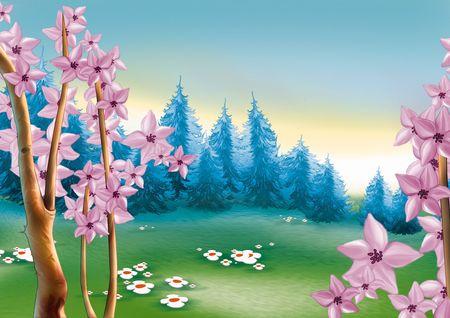 coniferous forest: Primavera prado forestal - altamente detallado antecedentes de dibujos animados 55