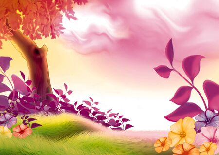 57: Summer day - Highly detailed cartoon background 57 Stock Photo