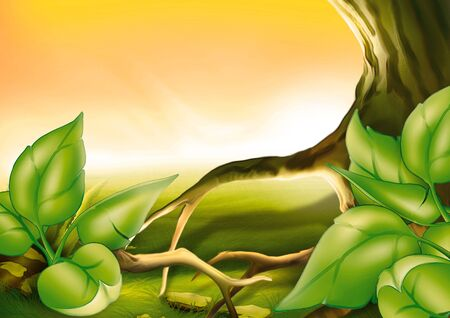 highly: Tree and shrubs - Highly detailed cartoon background 58 Stock Photo