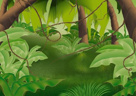 undergrowth: Virgin forest - Highly detailed cartoon background 61 Stock Photo
