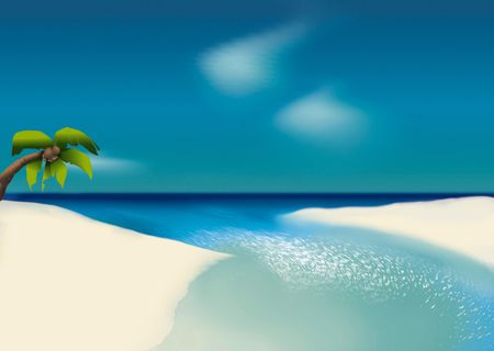 White beach - Highly detailed cartoon background 62