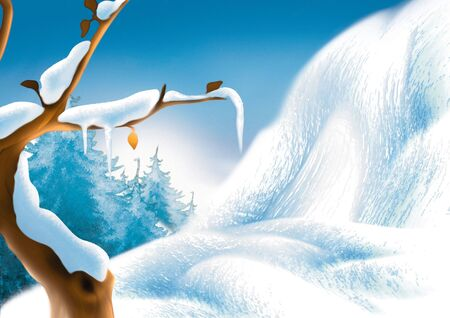 Winter scenery - Highly detailed cartoon background 63 photo