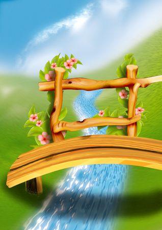 paysage dessin anim�: Passerelle en bois - cartoon tr�s d�taill� de fond 64