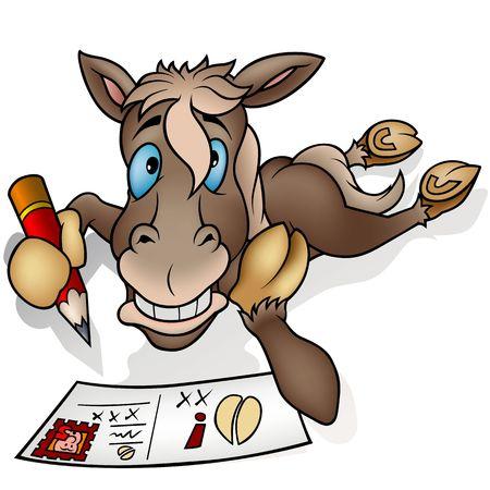 cartoons sweet: Horse and postcard  - Highly detailed cartoon animal Stock Photo