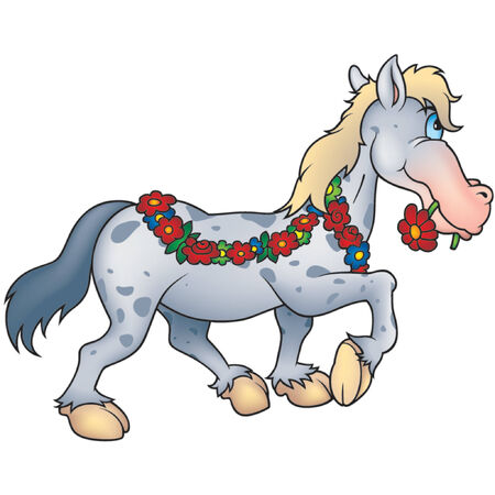 dapple horse: Horse and flowers  - Highly detailed cartoon