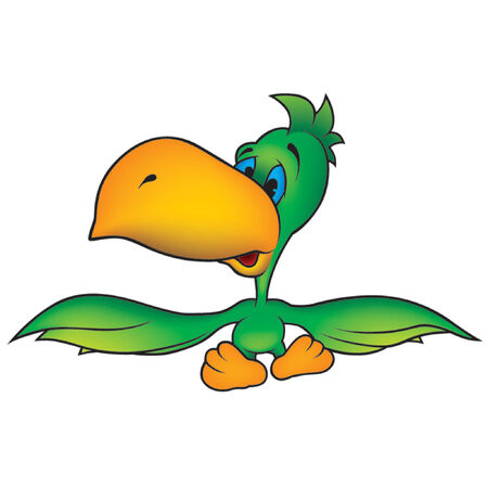 amiable: Green Parrot - Highly detailed cartoon