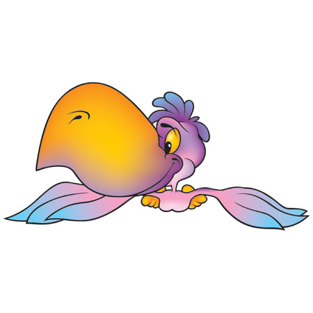 amiable: Pink-violet Parrot - Highly detailed cartoon