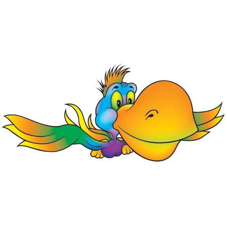 amiable: Many-coloured Parrot - Highly detailed cartoon Illustration