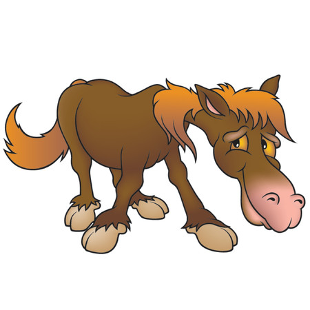 amused: Brown Horse - Highly detailed cartoon animal