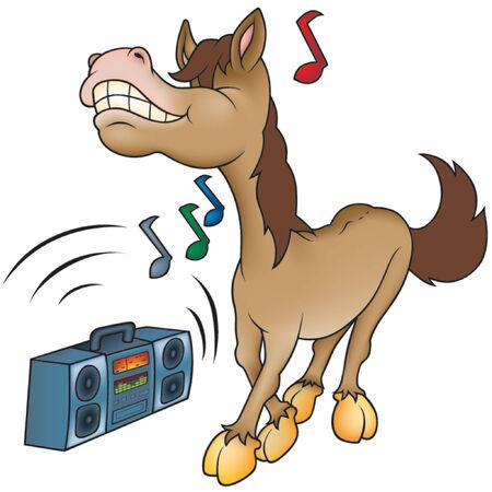 cartoons sweet: Horse and Music - Highly detailed cartoon animal