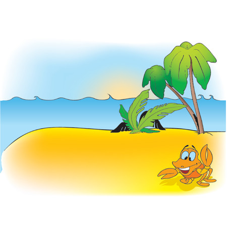 waves beach: Cartoon Background 10  - cartoon background Illustration
