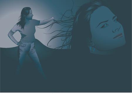 phantasy: Blue girl phantasy - vector illustration as phantasy composition Illustration